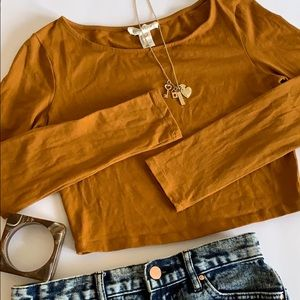 Scoop Neck Long Sleeves Crop Top